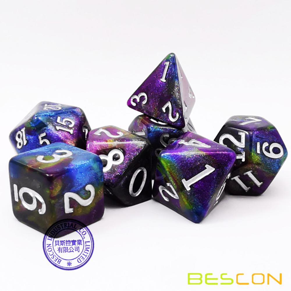 Bescon Starry Night Dice Set Series, 7pcs Polyhedral RPG Dice Set Milky Way, Midnight, Twilight