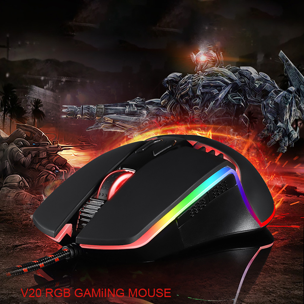 MOTOSPEED V20 Catamount 8 Buttons <font><b>5000DPI</b></font> RGB Backlit Wired Gaming Mouse 8 Buttons PMW3325 Professional IC Laser #20 image