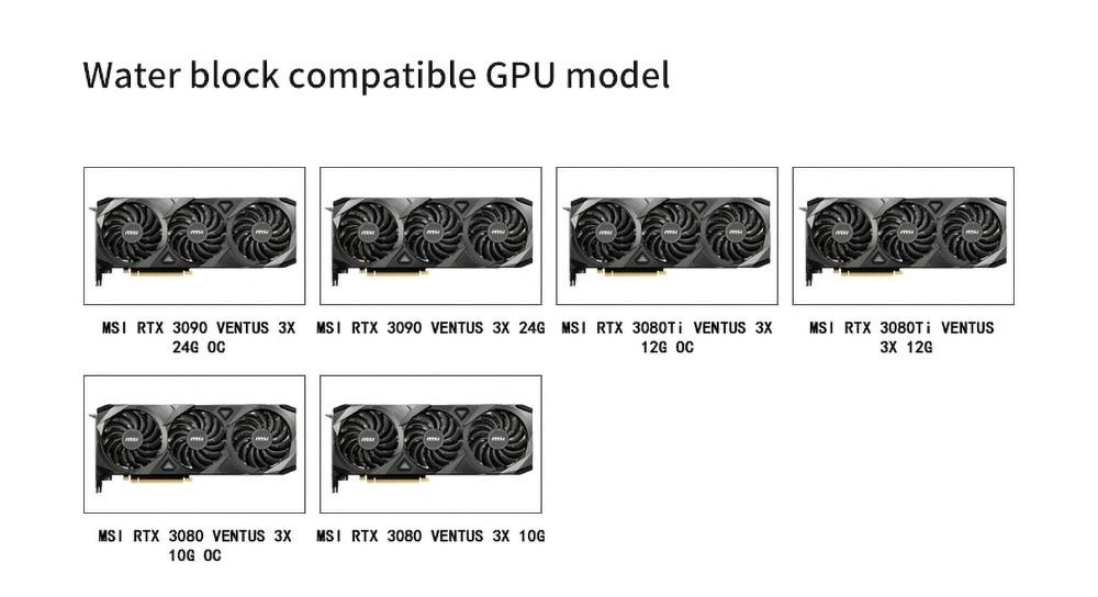 Barrow GPU Water Block Backplane Block for MSI RTX3090 3080Ti 3080 VENTUS 3X OC, Active Backplate Cooler, BS-MSV3090-PA2 B