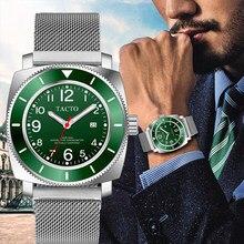TACTO-relojes deportivos de marca de lujo, pulsera de cuarzo verde, de acero inoxidable, resistente al agua hasta 50M, con manecillas militares del Ejército Geneva