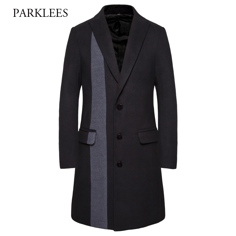 Stylish Patchwork Men's Long Trench Coat 2019 Winter Brand New Lapel Striped Woolen Overcoat Men Slim Fit Wool Casaco Masculino