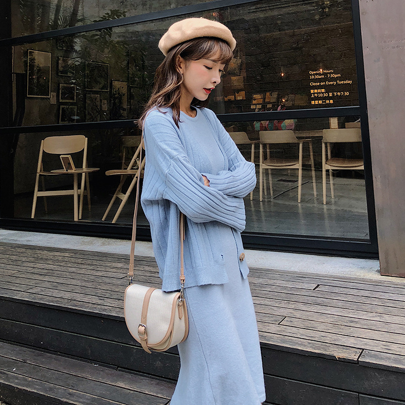 [Dowisi] 2018 Autumn New Style Laziness Knitted Cardigan Coat Vest Dress Two-Piece Set F5414
