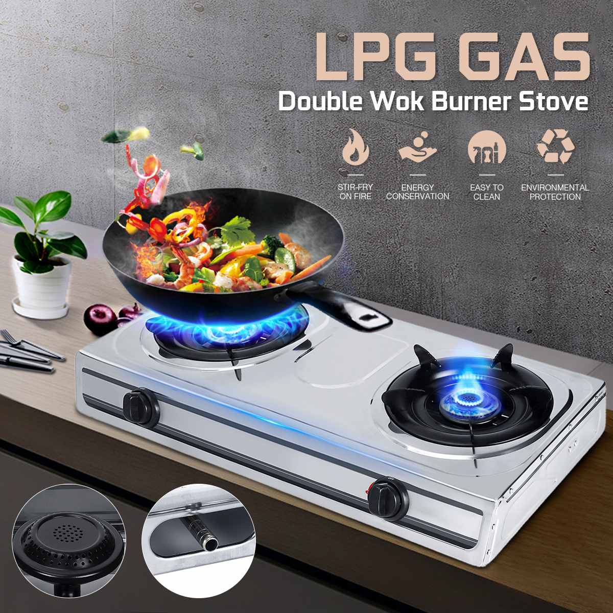 Fierce Gas Stove Double Stove Benchtop LPG Liquefied Petroleum Gas Stove Household LPG Cooker Stove Two Pots Kitchen Gas Cooktop