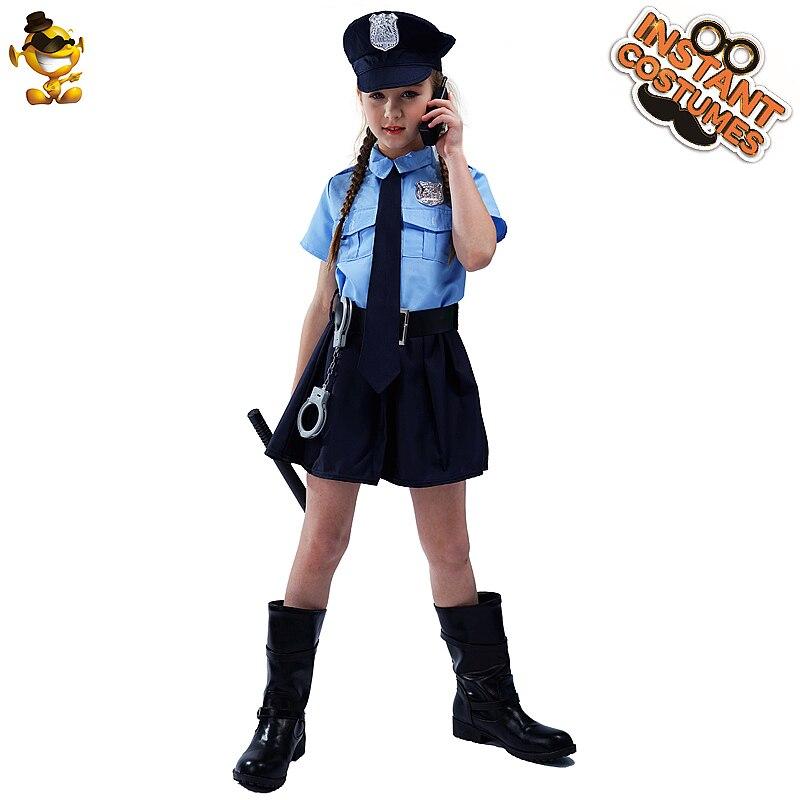Костюм полицейской формы для девочек; Маскарадный костюм для девочек; Костюм полиции; Одежда для Хэллоуина