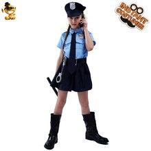 Uniforme da polícia da menina trajes cosplay crianças menina polícia vestido terno roupas para o traje de halloween