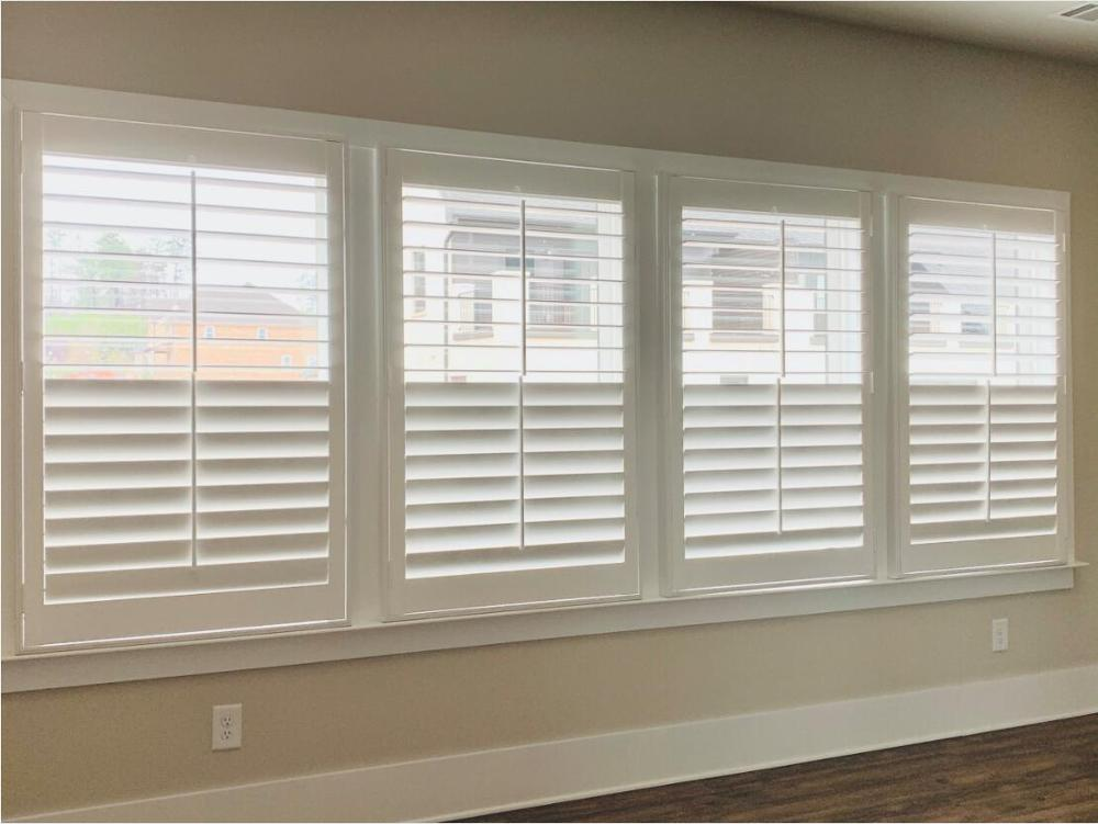 Custom Basswood Plantation Shutters Wooden Blinds Solid Wood Shutter Louvers PS247