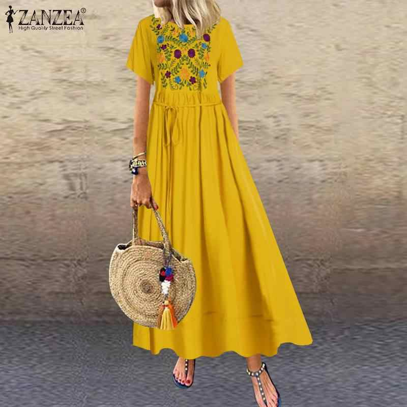 Zanzea Vrouwen Lange Maxi Jurk Casual Lange Shirts Vestidos 2020 Zomer Beach Zonnejurk Vintage Bloemen Borduren Jurken Plus Size