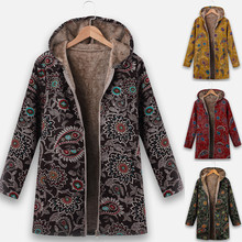 Chaqueta de mujer Vintage con cremallera étnica con capucha de lana de manga larga abrigo Plus Suze S-5XL manteau femme