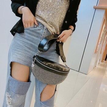 ¡Novedad de 2020! Bolso de pecho con diamantes de imitación para mujer, elegante bolso de cintura con diamantes, bolsos de hombro pequeños para mujer, bolsos de fiesta de alta calidad