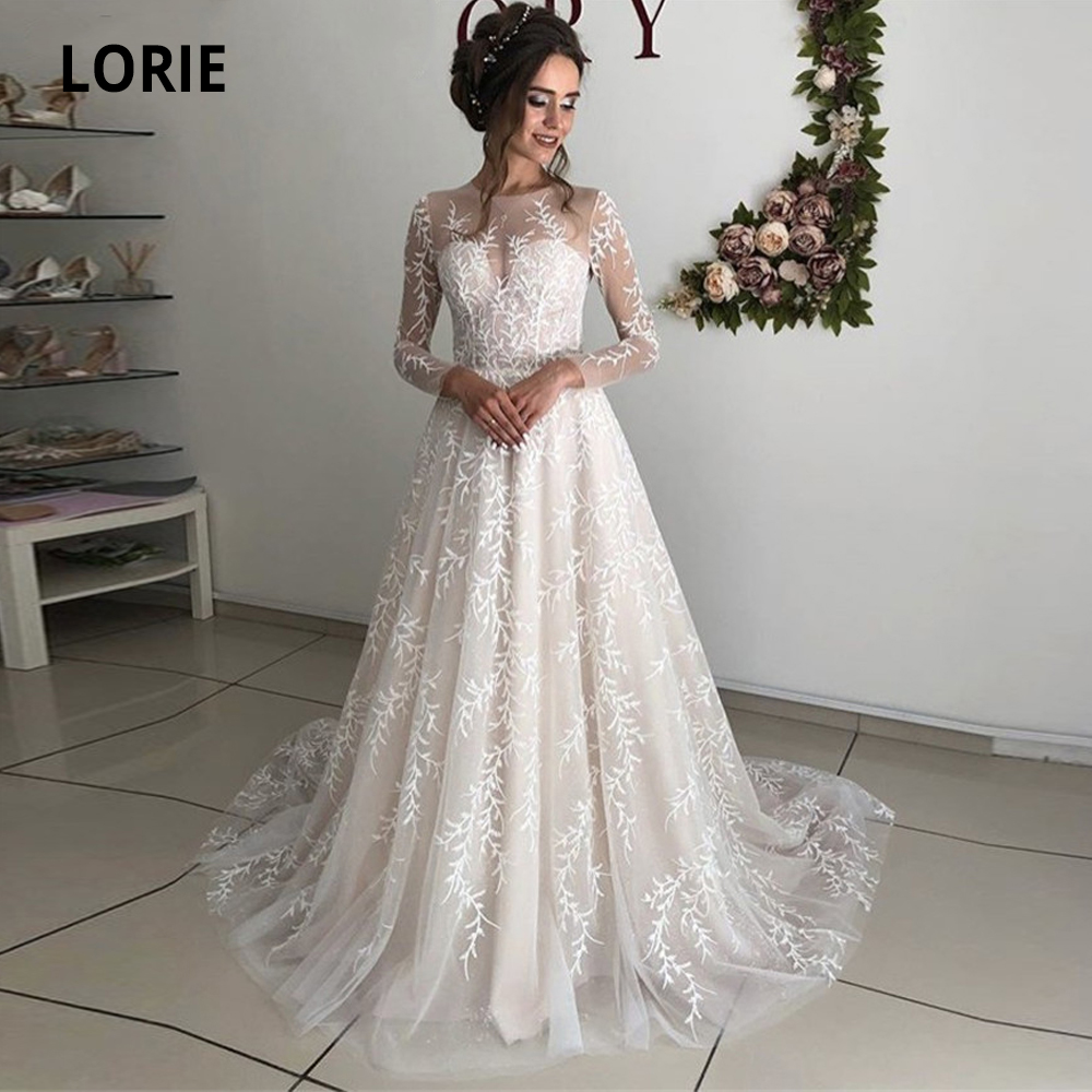 LORIE 2020 Spring Long Sleeve Lace Champagne Wedding Dresses A Line Bohemia Beach Bridal Dress Illusion Wedding Gowns Plus Size