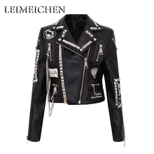 Jacket Women Short-Coat Biker-Motorcyclist Punk Black Rivet MT-26957 LEIMEICHEN S3XL