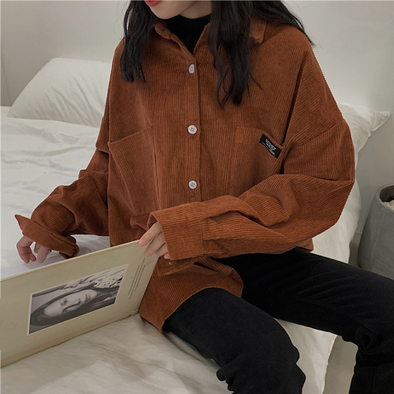 Women's Corduroy Shirt Blouse Coat Long Sleeve Pocket Button Shirts Ladies 2020 New Korean Spring Autumn Oversize Tops Female
