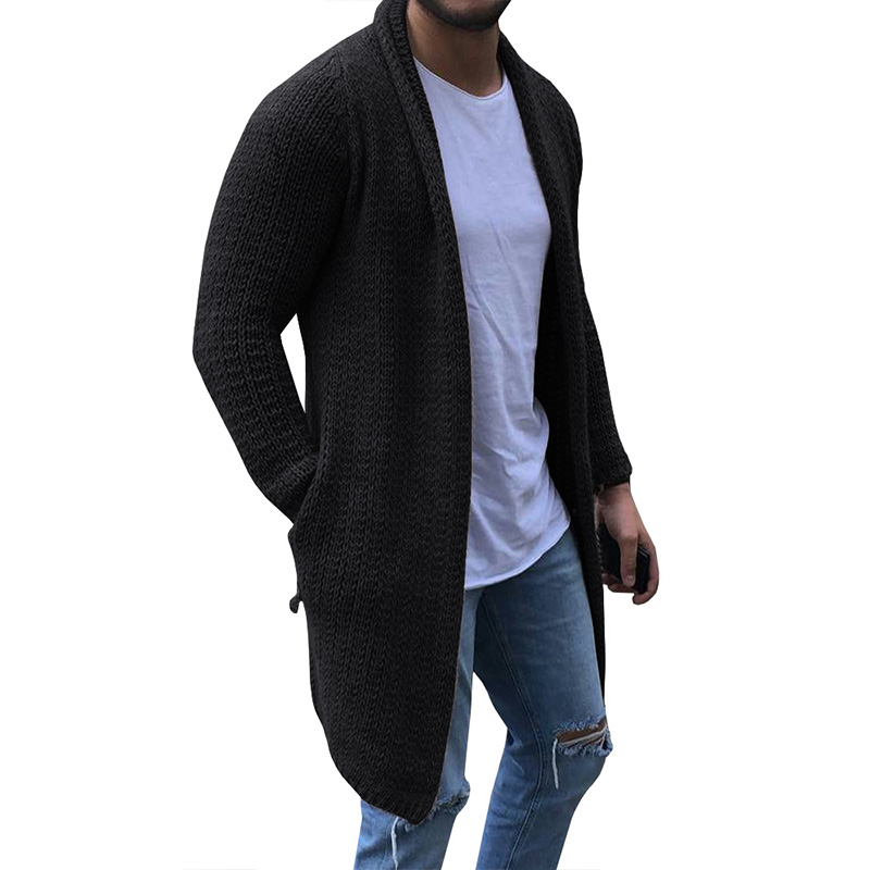 MJARTORIA Cardigan Men Long Sleeve Midi Sweater Coat with Pocket Winter Autumn Casual Solid Color Long Cardigans Pull Homme