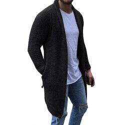 MJARTORIA sweter męski z długim rękawem Midi sweter z kieszonką zimowa jesień Casual Solid Color długie kardigany Pull Homme