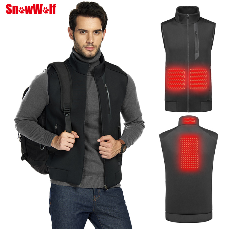 SNOWWOLF 2019 Men Winter Outdoor USB Infrared Heating Vest Jacket Electric Thermal Waistcoat Clothing Hunting Fishing Vest