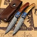Новый складной нож из дамасской стали с ручкой из оливкового дерева карманный нож для кемпинга выживания рыбалки с подшипником Бритва для п...