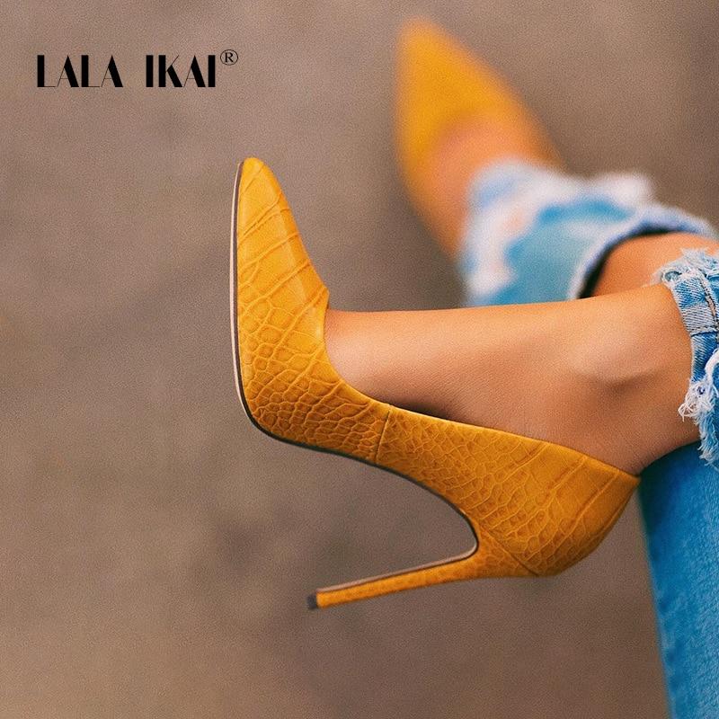 LALA IKAI Women Sexy Lemon Yellow Stilettos Pointed Toe Crocodile Pattern Women High Heels Plus Size Party Shoes XWC6859-4