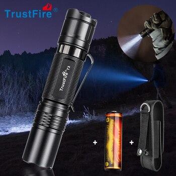 цена на Trustfire T3 EDC Tactical led torch flashlight 1000 Lumens 18650 CR123 Cree Pocket Lamp Flash Light for Outdoor Camping Hiking