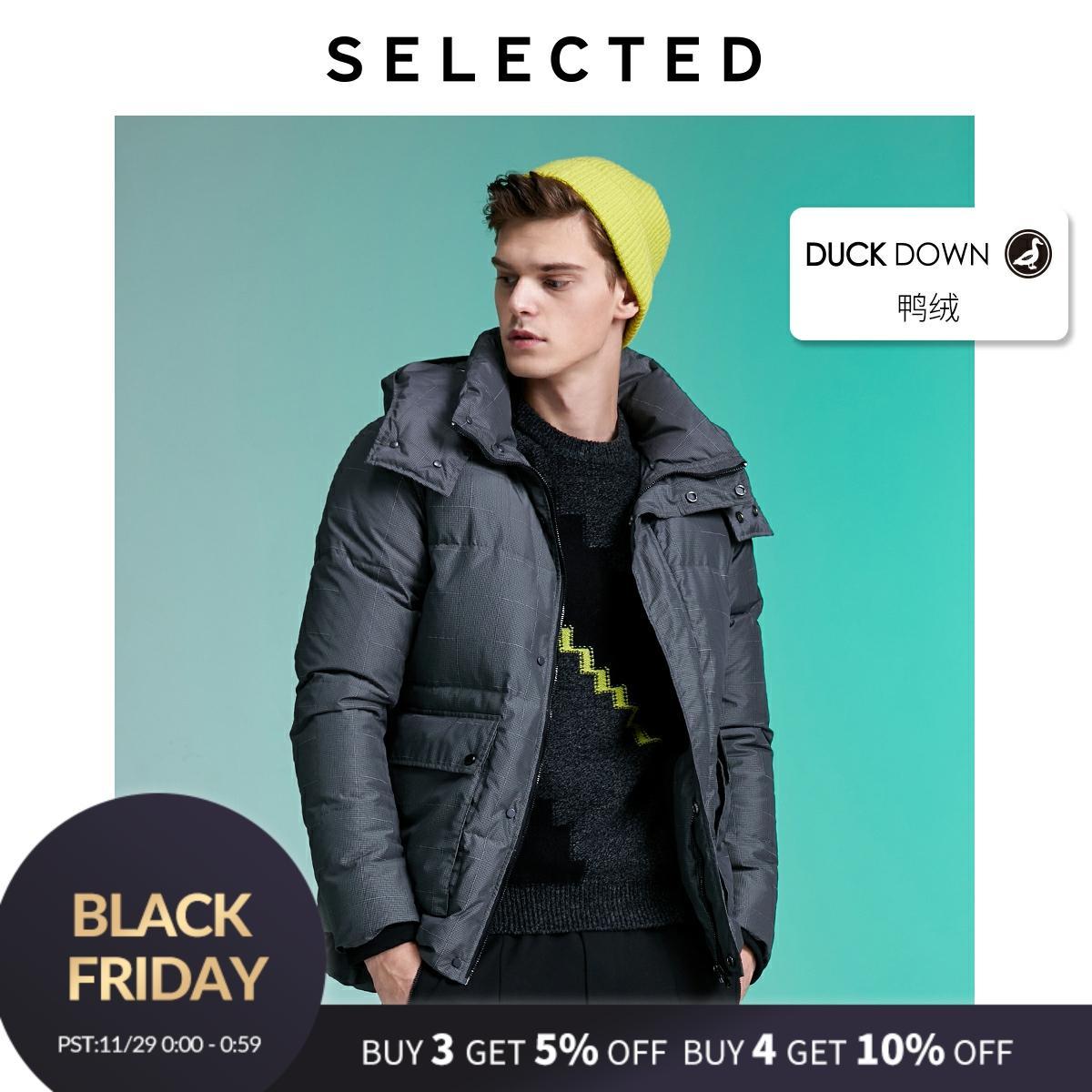 SELECTED Men's Contrasting Plaid Down Jacket Winter Outwear Coat L|419412570