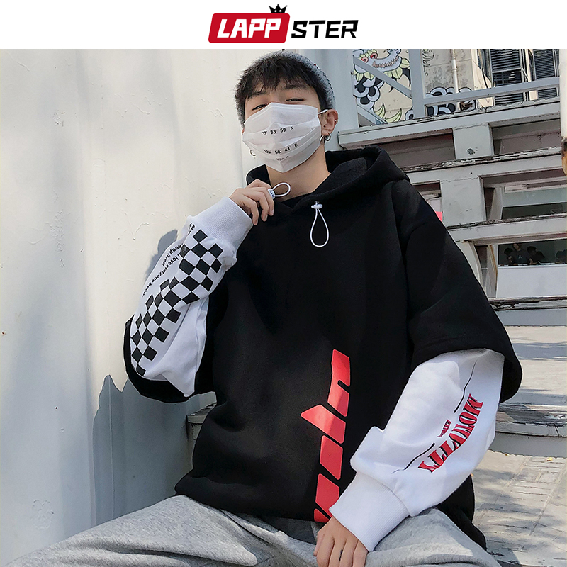 LAPPSTER Men Hip Hop Fleece Hoodies 2019 Man Winter Japanese Streetwear Sweatshirts Male Pullover Black Patchwork Hooded Hoodies