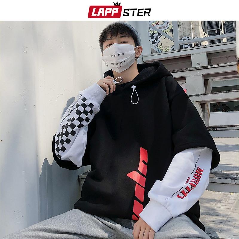 LAPPSTER Men Hip Hop Fleece Hoodies 2020 Man Winter Japanese Streetwear Sweatshirts Male Pullover Black Patchwork Hooded Hoodies