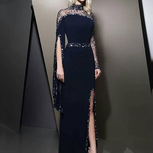 Eightree High Neck Navy Blue Formal Evening Dresses kaftan dubai Beaded Prom Dress Long sleeve Party Gowns Split robe de soiree
