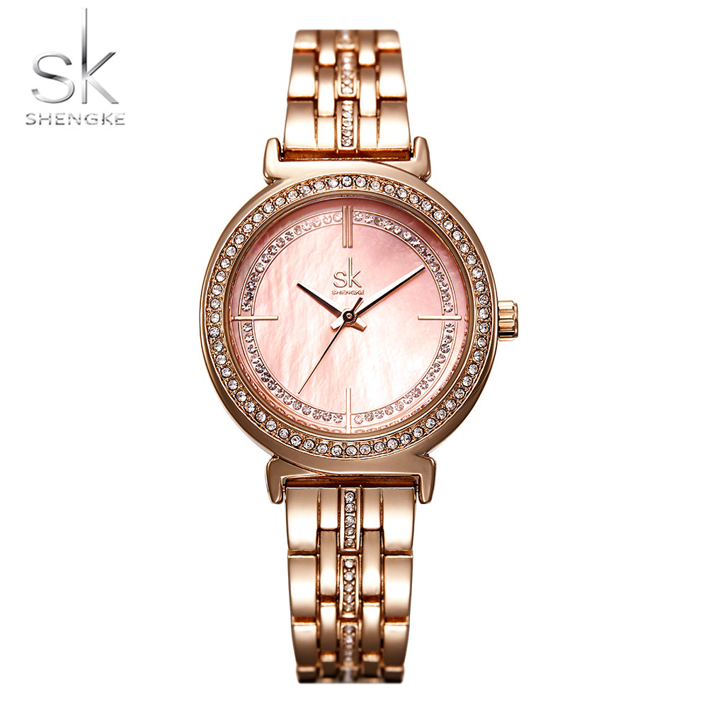 Shengke New Women Watch Crystal Shell Dial Rosegold Bracelet  Stainless Strap Luxury Ladies Quartz Movement Relogio Feminino