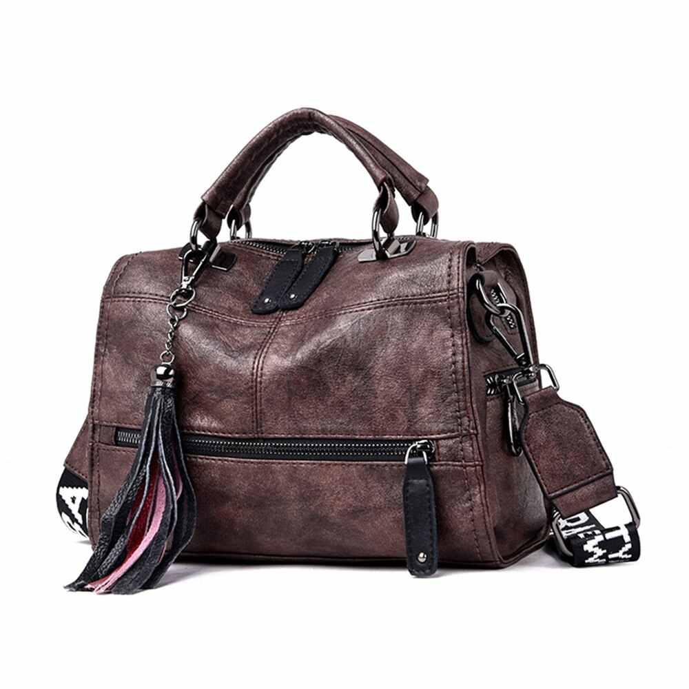 Marca Vintage cuero Real borla bolso de lujo bolsos de diseñador bolsos de mano de alta calidad para mujer 2019 Bolsa