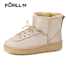 PUHLLM Winter Boots Women In Women's Snow Ankle Shoes  With Thick Sole Womens Flat Ladies F67