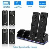 Cargador de mando para Wii/Wii U, 4 puertos de carga, accesorios para mando a distancia de Nintendo Wii