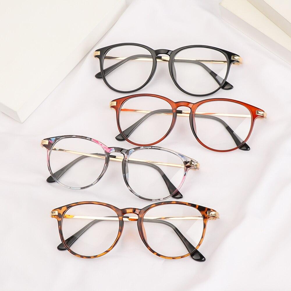 Unisex gözlük Ultralight yuvarlak Metal çerçeve gözlük Vintage düz ayna gözlük optik gözlük çerçeveleri düz ayna gözlük