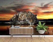 Beibehang-papel de paréo | Papier peint moderne, léopard réflexion murale, fond TV mur, pour salon, 3d
