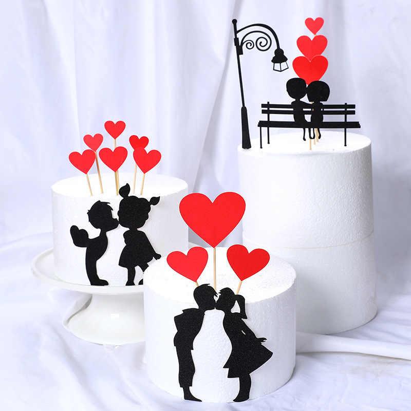Conjunto de bolos de cupcake, kit de topper para aniversários, casamentos, festas, decoração de bolo, coração, amor