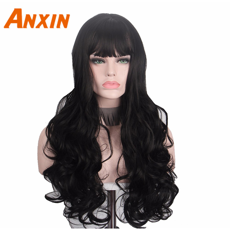 Long Black Wig Hair For Women Anxin Cosplay Curly Wigs With Bangs Heat Resistant None Lace Front Wig High Temperature Anime