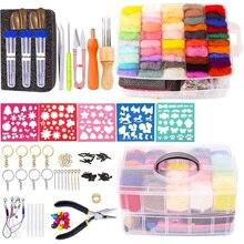 Imzay Needle Felting Kit Felting Supplies Needle Wool Felting Starter Kit Needle Felting Tool Wool Roving Handcraft Kit with Box