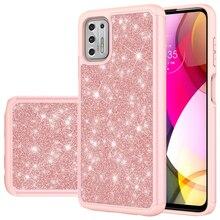 30pcs/lot Fashion Bling Glitter Hard TPU PC Case for Motorola G Power G Stylus G Play 2021 Hybrid Mobile Phone Case
