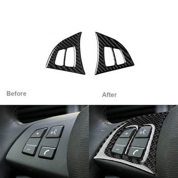 SPEORX RUIYYT 2X Carbon Fiber Car Inner Steering Wheel Switch Trim Cover For BMW X5 E70 2008-2013 image