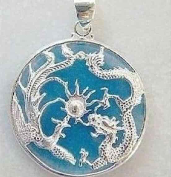 เครื่องประดับจี้มุกขายร้อน Rare Blue Jades Silver Dragon Phoenix จี้สร้อยคอจัดส่งฟรี