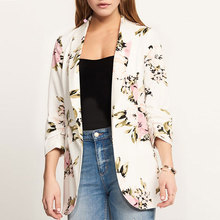 цена Vintage Floral Print Blazers Women Casual Slim Autumn Winter Blazers Coats Streetwears Office Lady Fashion White Suit Jackets онлайн в 2017 году