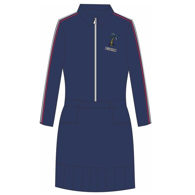 Send Belt! Spring Apparel Women Long Sleeve Dress Golf Wear Lady Dark Blue Slim Anti-Sweat Siamese Skirt Winter Shirt MG Clothes 4