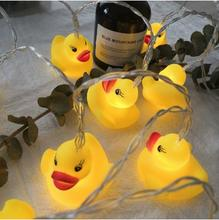 New Silicone Animal Small Yellow Duck LED Lights Decoration Sting Christmas Light  Outdoor Indoor