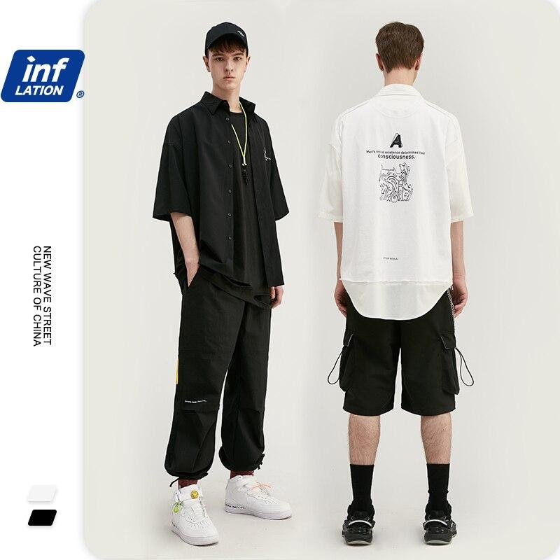 INFLATION Mens Shirts With Black White Color Oversize Loose Fit Men Shirt Streetwear Hip Hop Mens Short Sleeve Shirts 2003S20