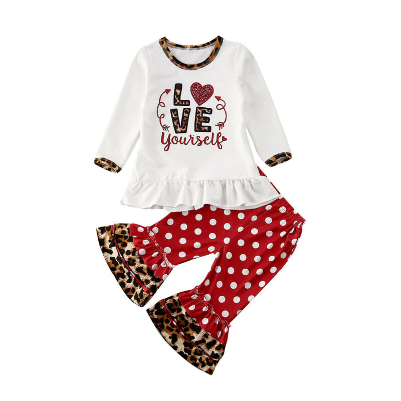 Newborn Infant Baby Girl Printed Clothes Set Short Sleeve T Shirt Dot Bell-Bottom Pants