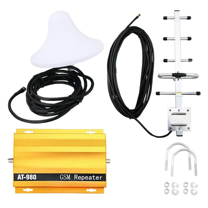 New At980 Mobile Phone Signal Booster Cell Phone 2G Gsm900Mhz Signal Repeater For Home Amplifier Complete Set(Us Plug)