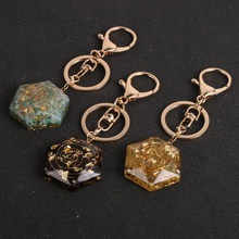 Natural Stone Chip Gravel Orgone Pendant Key Rings Tourmalines Amethysts Orgonite Energy Amulet Keychain Healing Reiki Jewelry