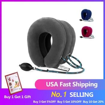 Dispositivo de tracción de cuello Cervical de aire inflable de 3 capas de stock de EE. UU. Cuello suave para aliviar el dolor