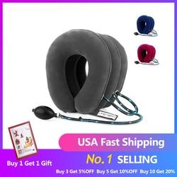 Eua stock3 camada de ar inflável cervical pescoço dispositivo tração gola macia para alívio da dor pescoço maca dor redeixe