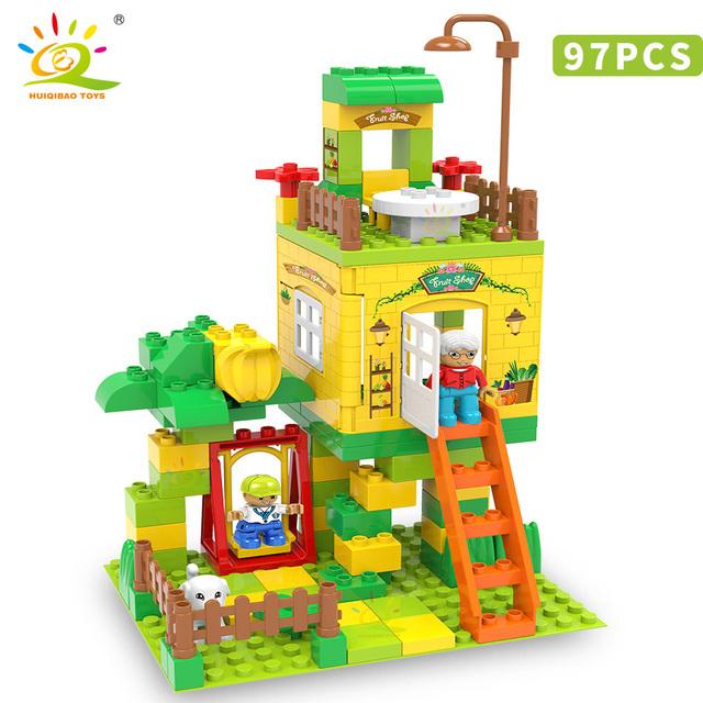 HUIQIBAO 97pcs fruit Store Duploed Size Building Blocks set city street view shop Big Bricks Educational Toys For Children gift