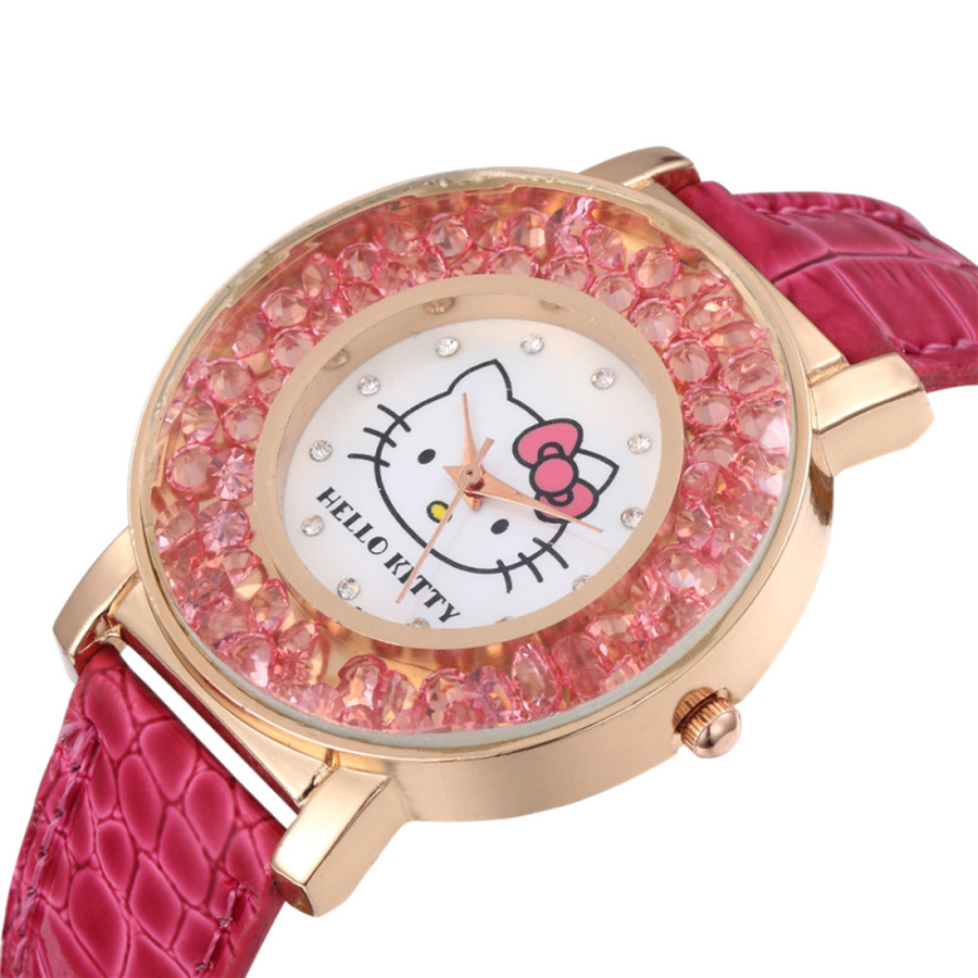 Hello Kitty Kids Watch Cute Pattern Pink Rhinestones Cartoon Children Watch High Quality Leather Strap Quartz Clock Girls Gift
