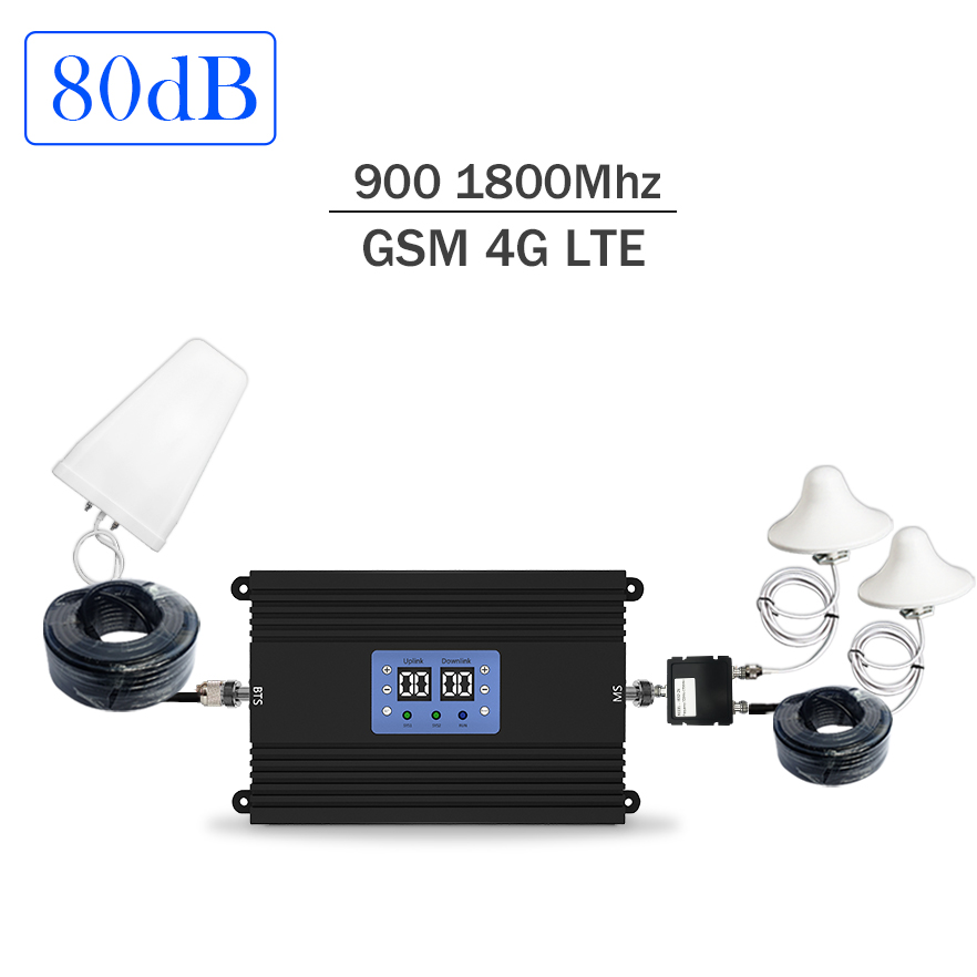 Lintratek 80dB 4G Repeater GSM Signal Booster 900 1800Mhz Ampli 4G 2G Dual Band Repeater Amplifier AGC MGC 25dBm KW25A-GD NEW